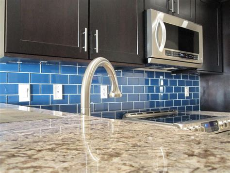 blue tile backsplash kitchen bold bright blue glass tile backsplash savary homes