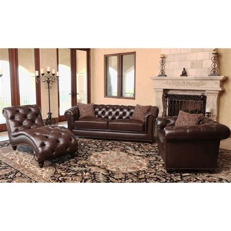 Brown Living Room Furniture Sets Abbyson Living Carmela Chesterfield Premium Top Grain Leather 3 Set Sofa Chair And
