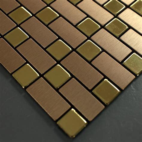 metallic mosaic tile backsplash brushed gold