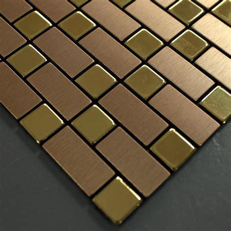 metallic mosaic tile backsplash strip brushed gold