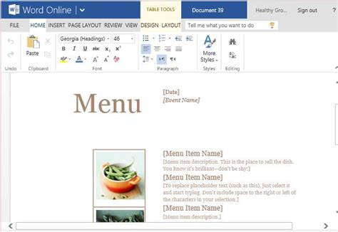 microsoft office menu template how to create printable menus in microsoft word