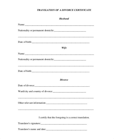marriage certificate translation template divorce certificate template 9 free word pdf document