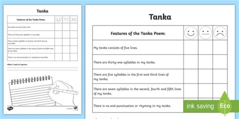 tanka poem template writing a tanka poem self assessment tracker poetry poem