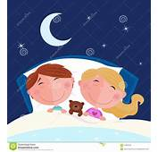 Siblings  Boy And Girl Sleeping In Bed Stock Images