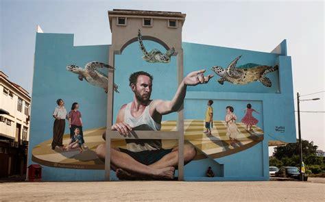 martin ron unveils   mural  penang malaysia