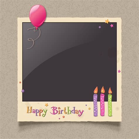 picture frame birth day card template happy birthday card frame free vector 19 671