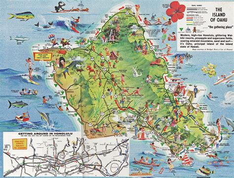 map of attractions maps update 16001218 oahu tourist attractions map