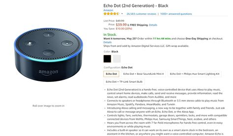 amazon echo price deal amazon echo dot 39 99 20 off until 12 pm et