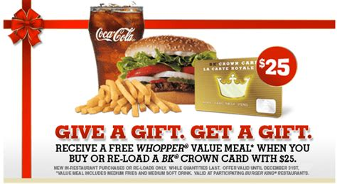 Bk Crown Card Gift Card - burger king free whopper meal with 25 gift card hot canada deals hot canada deals