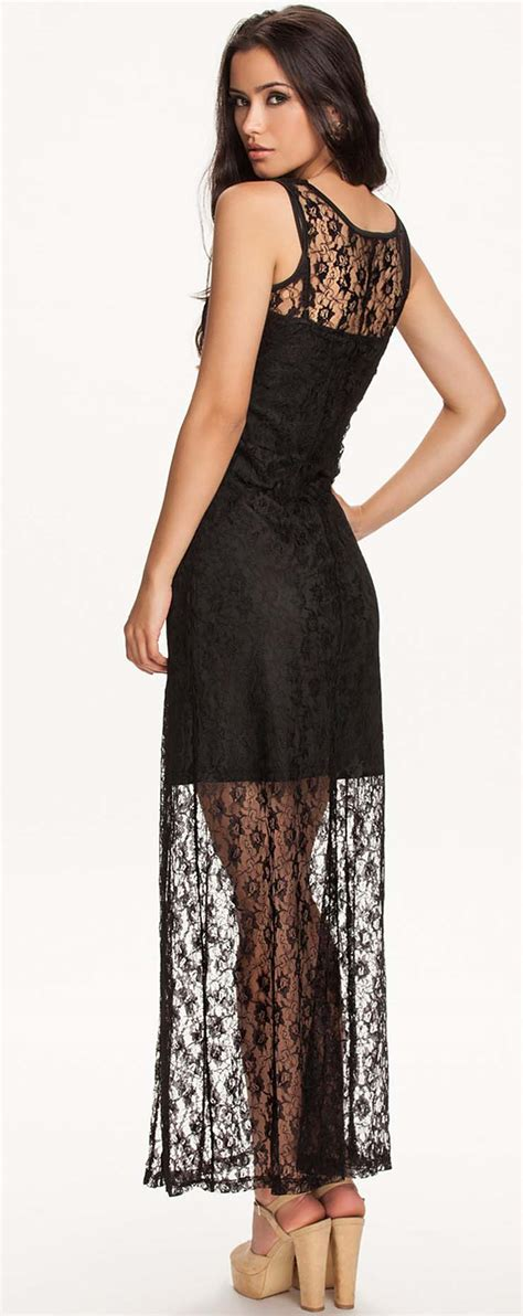 Black Lace Split Joint Dress black lace dress n9299
