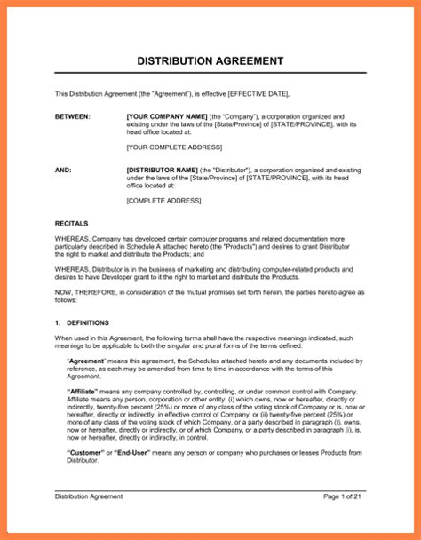 10 exclusive distribution agreement template purchase