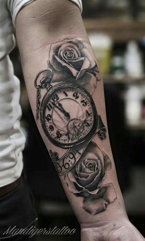 collection of 25 grandfather clock and tree tattoos on thigh