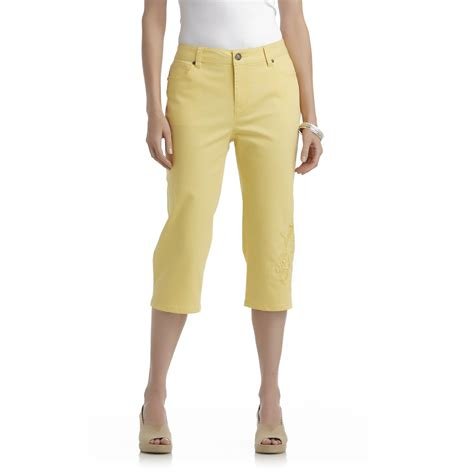 colored capris basic editions s colored denim capris embroidered