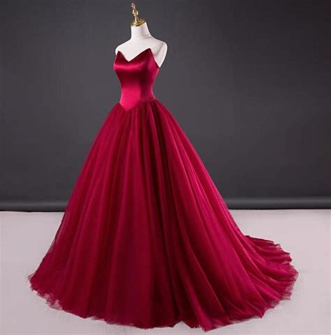 wine  sexy red ball gown tulle evening prom  lass