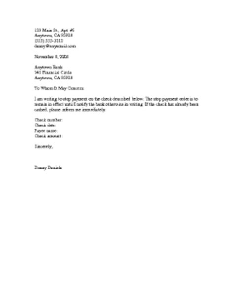 Stop Payment Request Letter Stop Payment Of Cheque Letter Format Best Template Collection