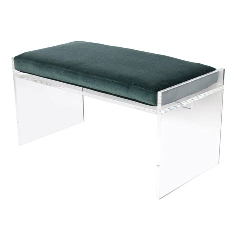 acrylic benches modern lucite bench with mohair cushion at 1stdibs