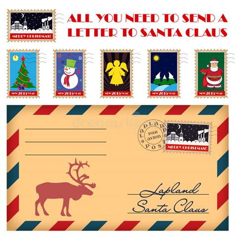 send a letter to santa vector and new year sts and envelope stock 1618