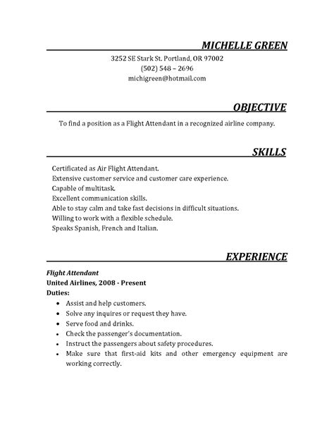 Flight Attendant Resume Objective by Flight Attendant Resumes Cover Letter For Cabin Crew