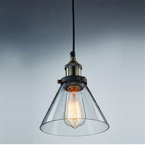 Ac100 240v D18 H23cm Clear Glass Lshade Funnel Pendant Industrial Pendant Lights For Kitchen