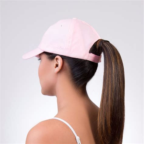 womans topper worn in ponytail spony ponytail baseball cap wear it 2 ways pink minx