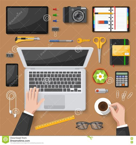 svg layout manager office desk top view design stock vector image 73344942