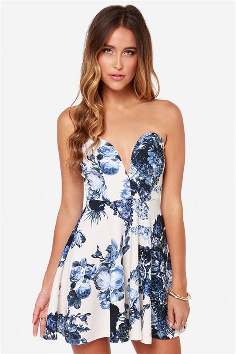 17684 Blue Floral Overall Dress by Strapless Dress Ivory Dress Floral Print Dress