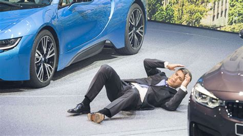 bmw ceo faint bmw ceo collapses in the middle of press conference