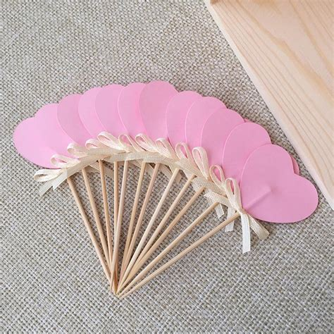 Decorative Toothpicks Wedding by 24 Pink Sided Cupcake Toppers Cupcake Toppers
