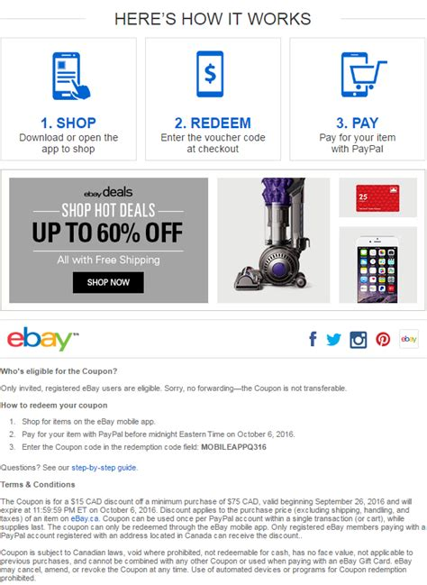 ebay mobile coupons ebay ca 15 75 coupon when you shop using the ebay