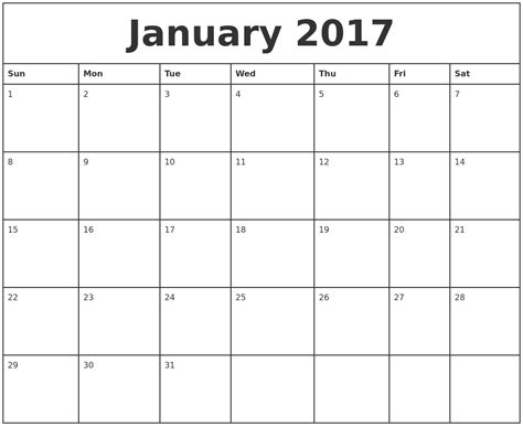 january 2017 printable monthly calendar