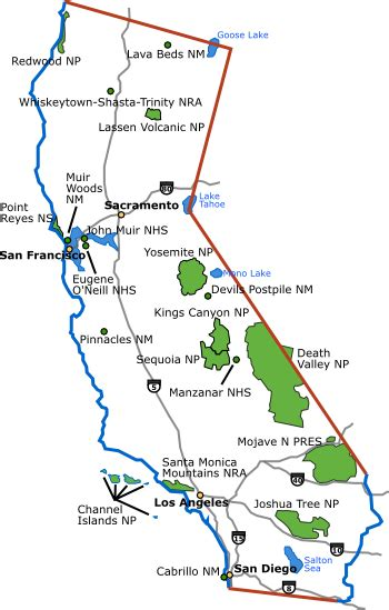 California State Park Map by California Map With National Parks National Park Support