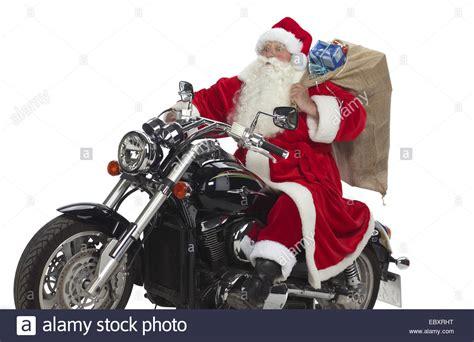 santa claus on motorbike stock photo royalty free image