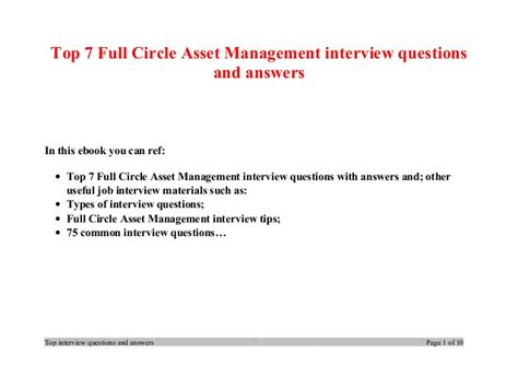 top 7 circle asset management questions and