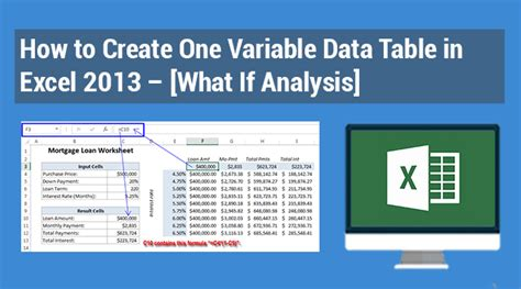 One Variable Data Table Excel 2013 how to create one variable data table in excel 2013