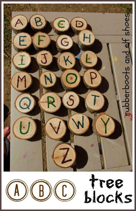 rubberboots and elf shoes rubberboots and elf shoes tree block alphabet learning