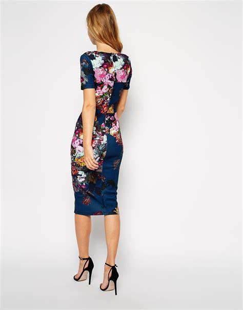 Dress Loisa Scuba asos floral print scuba bodycon dress lyst