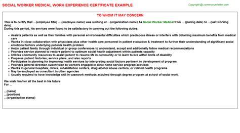 Work Experience Letter Help Social Worker Work Experience Certificates