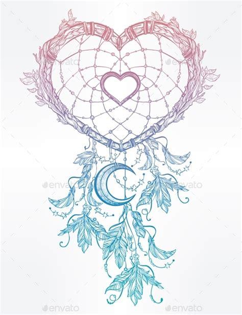 dreamcatcher tattoo template heart shaped dream catcher with moon by itskatjas