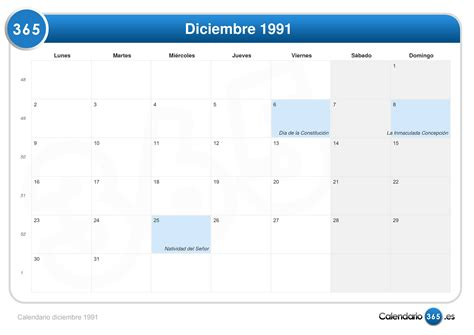 Calendario De 1991 Calendario Diciembre 1991