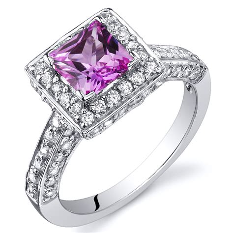 princess cut 1 00 cts pink sapphire engagement ring