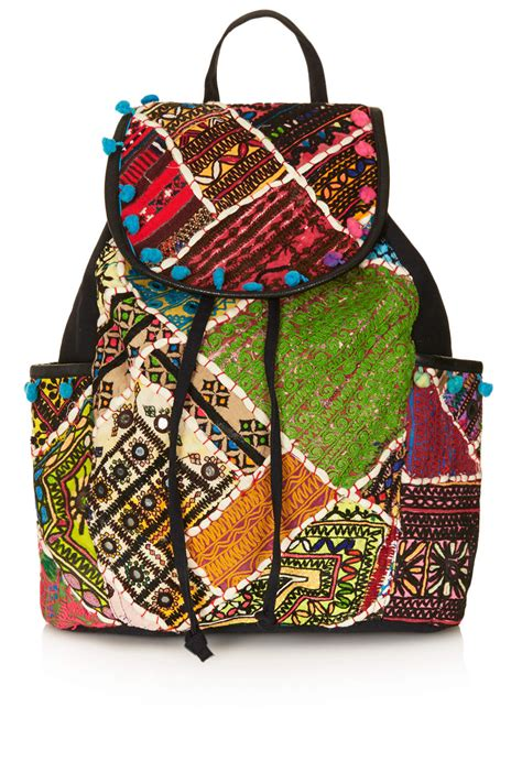 Patchwork Backpack - topshop patchwork backpack lyst