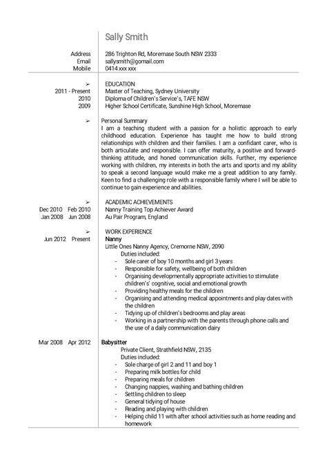 Cv Sle For by 16322 Nanny Resume Exles Professional Nanny Resume Sle