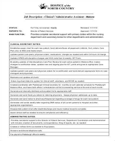 medical administrative assistant job description sle