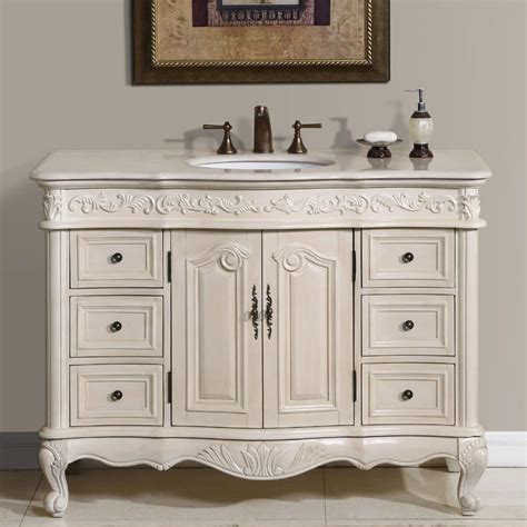 48 Bathroom Vanity With Offset Sink Shop Silkroad Exclusive Ella Antique White Undermount
