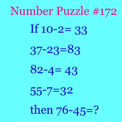 Puzzle Numbers 2 number puzzle 172 puzzlersworld