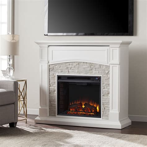 Electric Fireplace With Faux by 45 75 Quot Seneca Electric Media Fireplace White W White