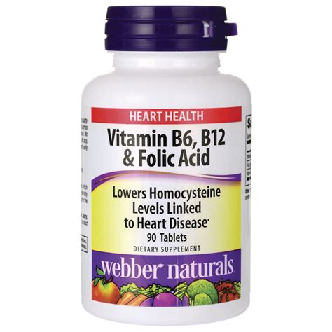 Vitamin Folic Acid webber naturals vitamin b6 b12 folic acid 90 tabs swanson health products