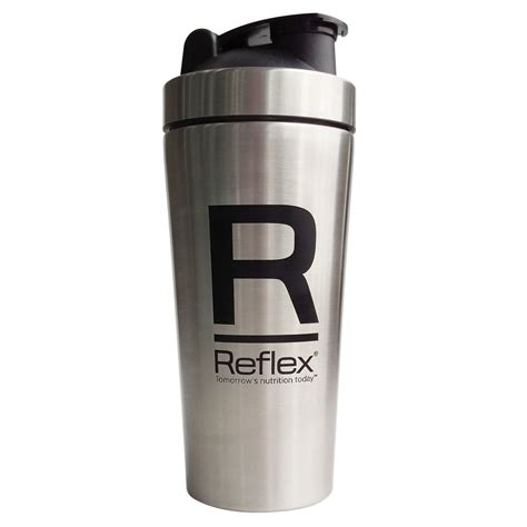 stainless steel 750ml shaker with mixing grate on lid reflex nutrition