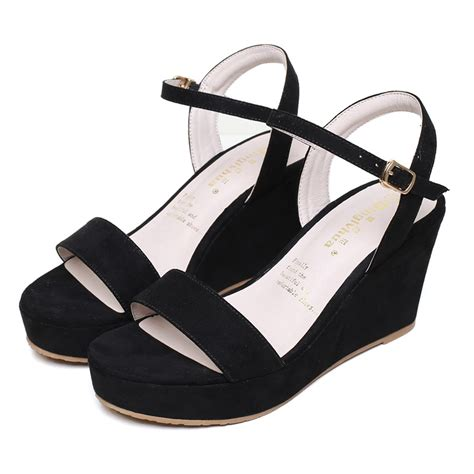 2017 small size 31 40 black wedges sandals high
