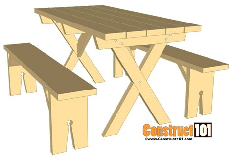 table and bench plans picnic table bench plans construct101